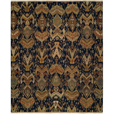 Rabigh Hand-Woven Brown/Black Area Rug Rug Size: Round 10