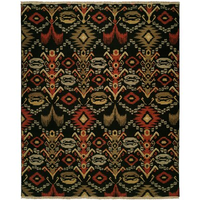 Suez Hand-Woven Black/Brown Area Rug Rug Size: Round 6