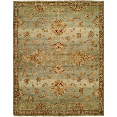 Auckland Hand-Knotted Blue/Gold Area Rug Rug Size: 5 x 7