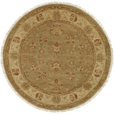 Buenaventura Hand-Knotted Green/Ivory Area Rug Rug Size: Round 6'