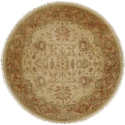 San Lucas Hand-Knotted Ivory Area Rug Rug Size: Round 8
