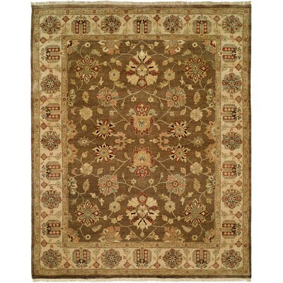 Caldera Hand-Knotted Beige/Brown Area Rug Rug Size: 5 x 7