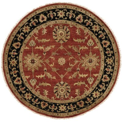 Chile Hand-Knotted Rust/Black Area Rug Rug Size: Round 10