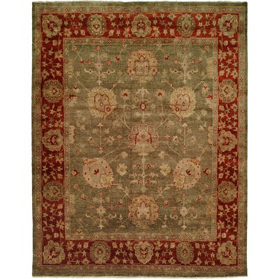 Davao Hand-Knotted Green/Red Area Rug Rug Size: Square 8
