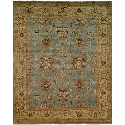 Piso Hand-Knotted Blue/Brown Area Rug Rug Size: Round 8