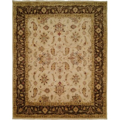 Ensenada Hand-Knotted Ivory/Brown Area Rug Rug Size: Round 8