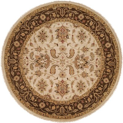 Ensenada Hand-Knotted Ivory/Brown Area Rug Rug Size: Round 10
