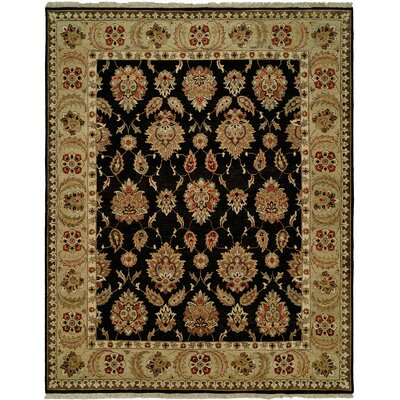 Legazpi Hand-Knotted Black/Gold Area Rug Rug Size: Rectangle 6 x 9