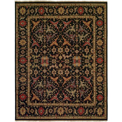 Napier Hand-Woven Black/Brown Area Rug Rug Size: Round 6