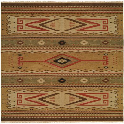Metro Hand-Woven Beige/Brown Area Rug Rug Size: Square 6