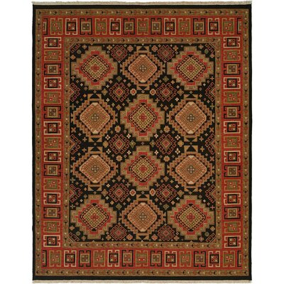 Montt Hand-Woven Black/Red Area Rug Rug Size: 4 x 6