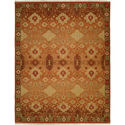 San Diego Hand-Woven Rust/Ivory Area Rug Rug Size: Rectangle 4 x 6
