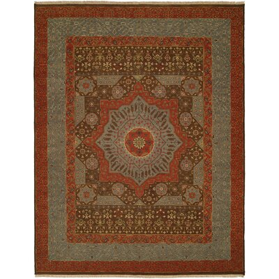 Wellington Handmade Red/Gray Area Rug Rug Size: Round 6