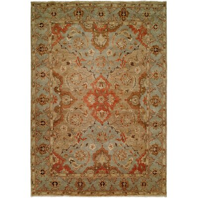 Sai Hand-Knotted Brown/Blue Area Rug Rug Size: Round 10