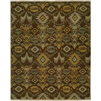 Gon Hand-Woven Brown/Green Area Rug Rug Size: Round 6