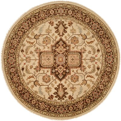 Ho Hand-Knotted Brown/Blue Area Rug Rug Size: Round 8