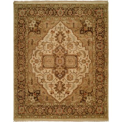 Ho Hand-Knotted Brown/Blue Area Rug Rug Size: Round 6