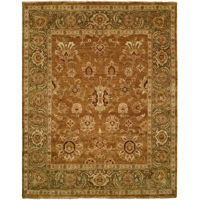 Hand-Knotted Brown Area Rug Rug Size: Rectangle 10 x 14