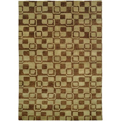 Minh Hand-Knotted Gold/Brown Area Rug Rug Size: 9 x 12
