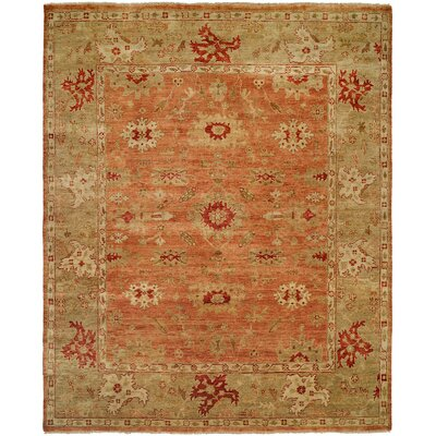 Longview Hand-Knotted Orange/Brown Area Rug Rug Size: Round 8
