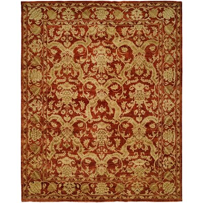 Hand-Knotted Red/Gold Area Rug Rug Size: 4 x 6