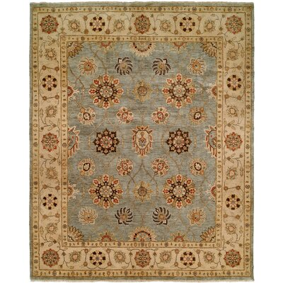 Hand-Knotted Blue/Ivory Area Rug Rug Size: 9 x 12