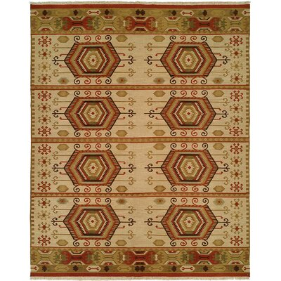 Qinhuangdao Hand-Woven Beige/Red Area Rug Rug Size: Rectangle 12' x 18'