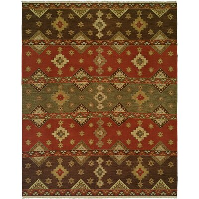 Jinzhou Hand-Woven Red/Brown Area Rug Rug Size: 12 x 18