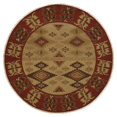Yingkou Hand-Woven Brown/Red Area Rug Rug Size: Round 10
