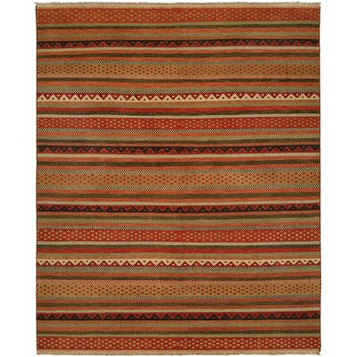 Queensland Brown/Red Area Rug Rug Size: Round 6