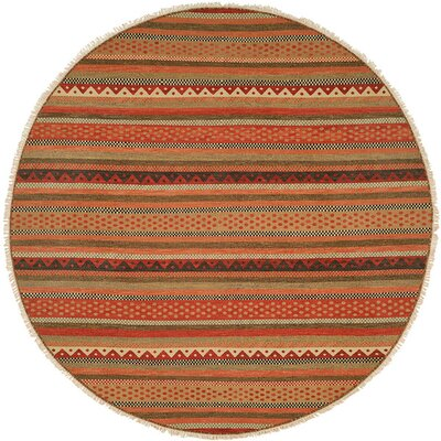 Queensland Brown/Red Area Rug Rug Size: Round 8