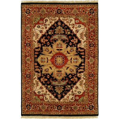 Bundaberg Hand-Knotted Black/Rust Area Rug Rug Size: Runner 26 x 12