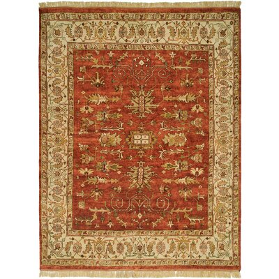 Moresby Hand-Knotted Red/Ivory Area Rug Rug Size: 10 x 14