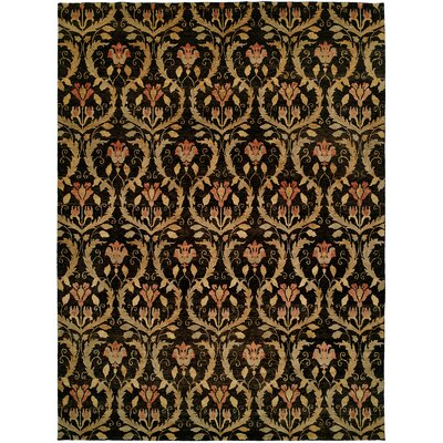 Kaohsiung Hand-Knotted Black/Gold Area Rug Rug Size: Rectangle 4 x 6