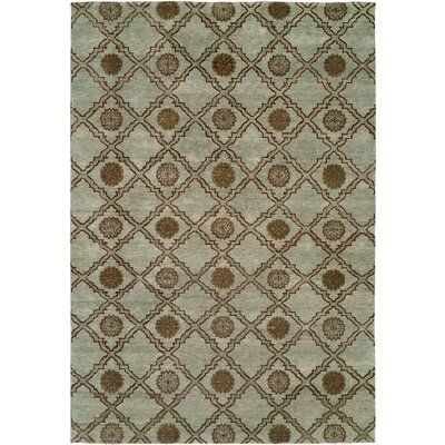 Laem Hand-Knotted Light Blue Area Rug Rug Size: Square 10