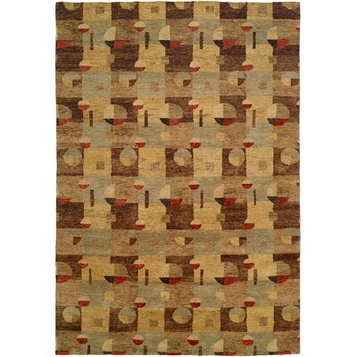 Lushun Hand-Knotted Brown/Beige Area Rug Rug Size: 10 x 14