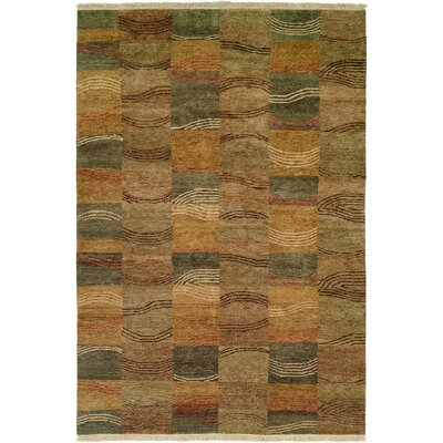NampO Hand-Knotted Brown/Gray Area Rug Rug Size: 6 x 9