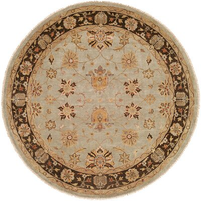 Chongqing Hand-Knotted Light Blue/Brown Area Rug Rug Size: Round 8