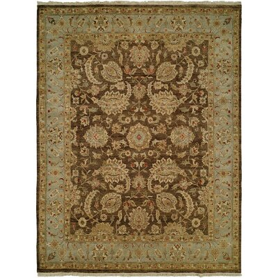 Shanghai Hand-Knotted Brown/Blue Area Rug Rug Size: 5 x 7