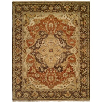 Busan Hand-Knotted Brown/Ivory Area Rug Rug Size: Rectangle 5 x 7
