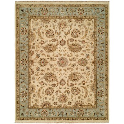 Rason Hand-Knotted Ivory/Light Blue Area Rug Rug Size: 5 x 7