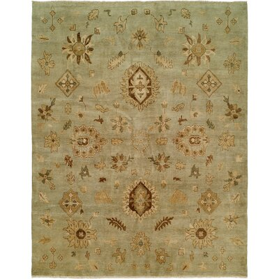 Seattle Hand-Knotted Green Area Rug Rug Size: Rectangle 4 x 6