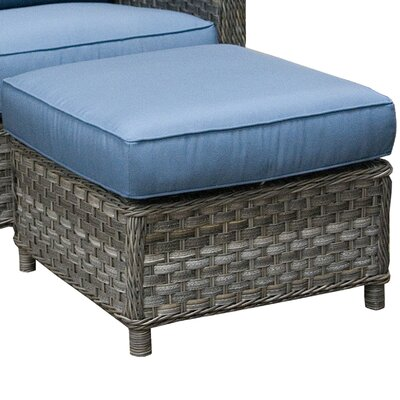 Ottoman with Cushion Fabric: Canvas Air Blue