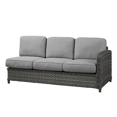 Sofa with Cushion Frame Finish: Grey, Fabric: Canvas Air Blue