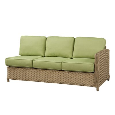 Sofa with Cushion Frame Finish: Natural, Fabric: Canvas Air Blue