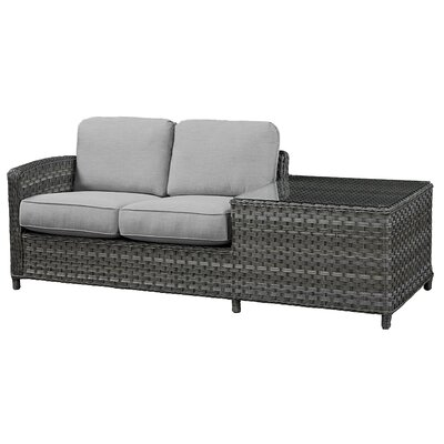 Loveseat with Cushion Frame Finish: Grey, Fabric: Canvas Air Blue