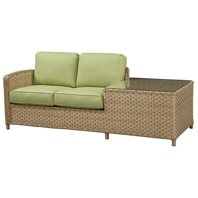 Loveseat with Cushion Frame Finish: Natural, Fabric: Meridian Coco