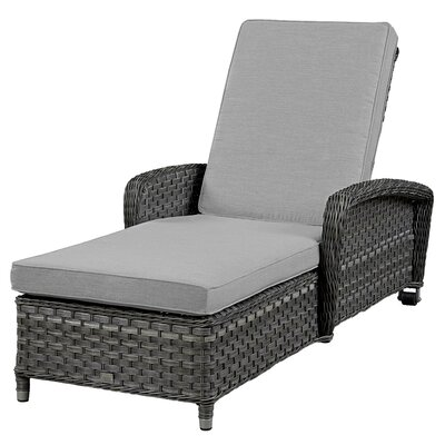Chaise Lounge with Cushion Frame Finish: Grey, Fabric: Canvas Granite