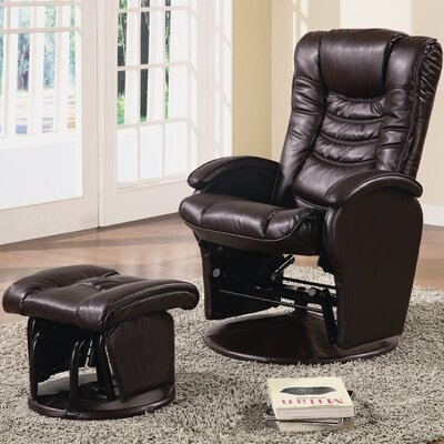 Vanceboro Glider Recliner with Ottoman Upholstery: Durable Brown