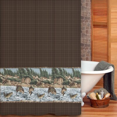 River Fishing Cotton Shower Curtain